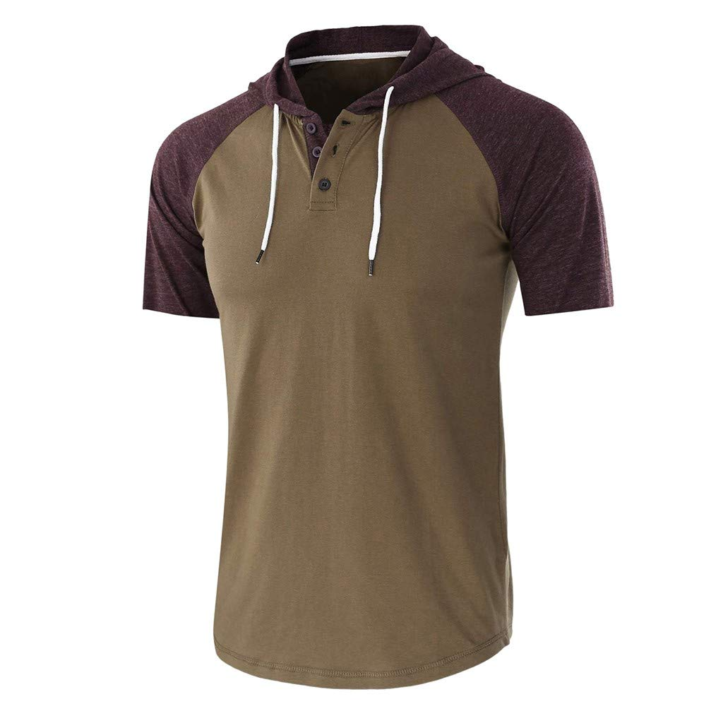 Letdown/_Men tops Hooded Shirts for Men Short Sleeve Casual Summer Patchwork Drawsting Button Hoodie T-Shirt Top Blouse