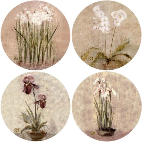 Garden Cheris (CoasterStone AS465 Subtle Flowers Absorbent Coasters, 4-1/4-Inch, Set of 4)