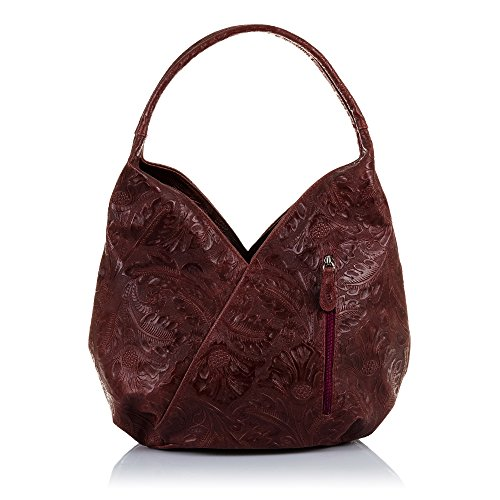 FIRENZE in Women's nbsp;cmColour Italian Leather Brown ARTEGIANIGenuine Boho 33 18 Engraved Floral Burgundy Shoulder HandbagWomen's Real nbsp;x BagMade 33 nbsp;x Italy Leather SzSqr