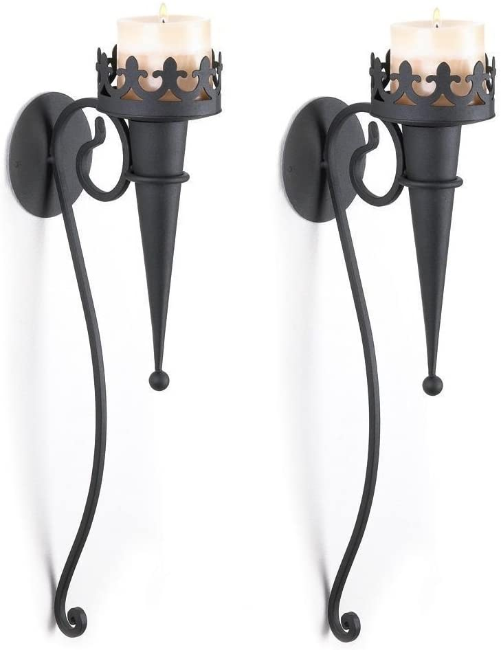 "SLC 2 Medieval Gothic Torch Style Black Pillar Candle Holder Wall Sconce, 4"" x 6.5"" x 18.8"","