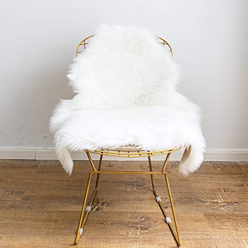LANANAS Super Soft Faux Fur Sheepskin Shaggy Area Rug Pad Chair Cover Seat Cushion for Couch for Living Bedroom Floor (Ivory White, 2 X 3 Feet)