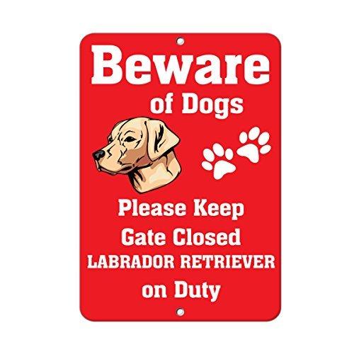 Labrador Retriever Dog Beware Of Fun Novelty Outdoor Sign Ya