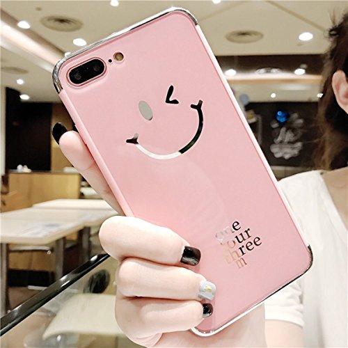 Funda iPhone 6/iPhone 6s (4.7), EUWLY Apple iPhone 6/iPhone 6s Carcasa Silicona Ultra Slim Plating Mirror TPU Cover Case Anti-Rasguño Anti-Golpes Protectora Bumper Case para iPhone 6/iPhone 6s Funda  Espejo Rosa,Smile