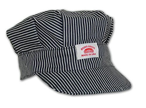Round House Train Conductor Hickory Striped Engineer Hat - Adult - Made in USA (STRIPE ADLT) - Adult Train Engineer Hat