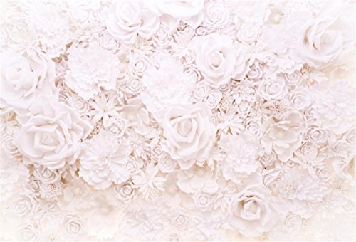 Aofoto 6x4ft Elegant Flower Backdrops White Handmade Roses Photography Background Bridal Showers Girl Baby Adult Artistic Portrait Romantic Wedding