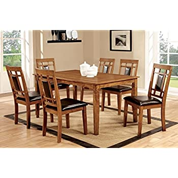 Furniture Of America Lazio 7 Piece Transitional Dining Set, Light Oak