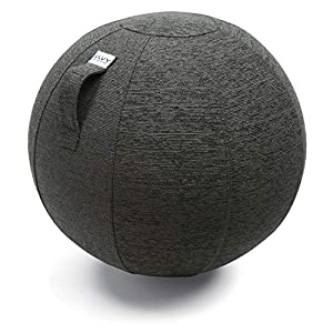 VLUV Ballon-siège STOV, siège Ergonomique, Couleur: Anthracite (Gris foncé), Ø 50cm – 55cm, Tissu d'ameublement de qualité supérieure, Robuste et indéformable avec Une poignée de Transport