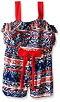 Rare Editions Little Girls' Toddler Printed Woven Romper, Multi, 2T