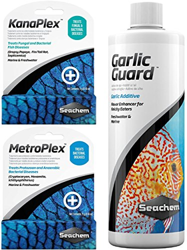 Ultimate Seachem Aquarium Treatment Bundle Pack - Metroplex, Kanaplex, Garlic Guard (Lifeguard Treatment Freshwater)