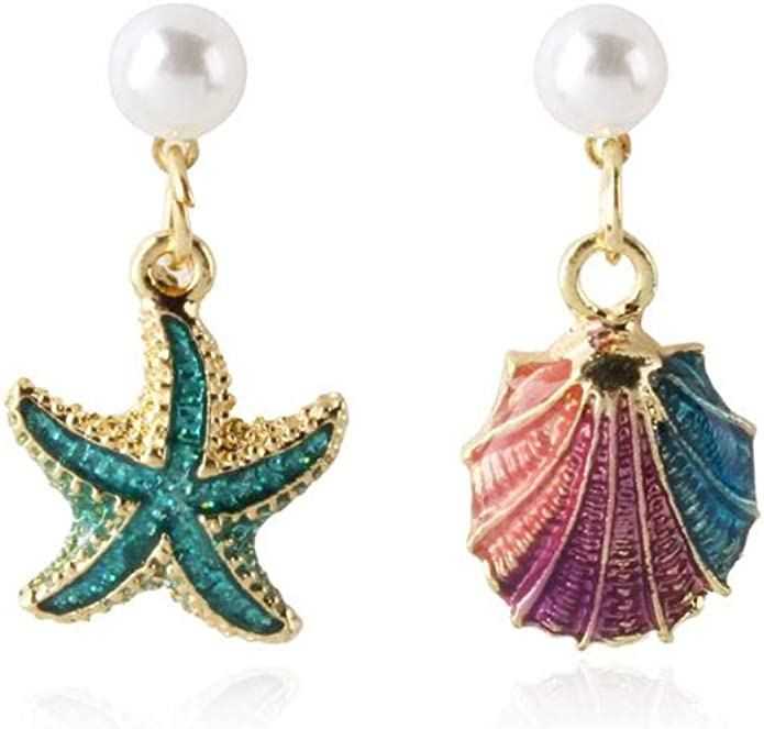 Dangle /& Drop Earrings Wedding Jewelry Clip on earrings Crystal earrings Leaf and flower mismatched drop earrings Asymmetrical earrings