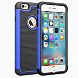 iPhone 6S case, iPhone 6 case,IWOCH Dual Layer Shockproof Scratch-resistant Protective Case Rugged Hybrid Plastic & silicone Case for iPhone 6s 6 4.7 inch Blue