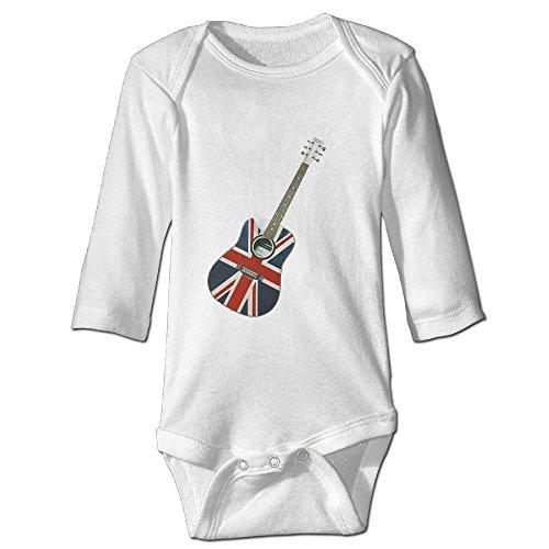 Long-Sleeve Baby Onesies Bodysuit UK Flag Guitar Custom Baby Rompers Clothes