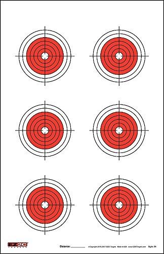 EZ2C 25, 50, 75 Yard Rifle Targets (25 Pack) Long Range Shooting Paper Targets (100 yd)   Bullseye Target Style   High Visibility Firearms, Pistol, Airsoft and BB Gun Rifles Targets 11