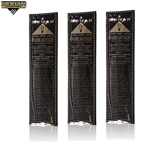 Mohan® Incense African Peach Scents Pack 250 Sticks (9.2 Inches Tall) - Makers of the World Famous Khush Scent - Premium Pure Charcoal Incense Hand Rolled in the Finest Herbs, Spices, Oils, Honey, and Sandalwood Powder