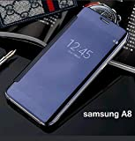 "For Samsung A8 model ""MOBISTYLE"" New Luxury Smart Clear View Mirror Flip Cover For Samsung A8 model (BLUE)"