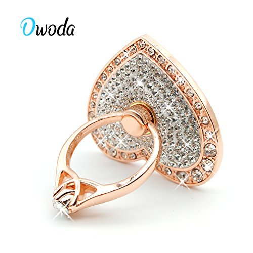 Owoda Romantic Heart Crystal Phone Ring Stand Holder 360 Degree Rotating Ring Grip Cell Phone and Tablets Anti Drop Ring for iPhone iPad Samsung Nexus (Rose-White)