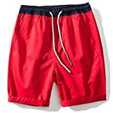 MUSE FATH Mens Cotton Flat Front Shorts-Elastic Waist Chino Shorts and Plaid Summer Beach Wears-Red-L