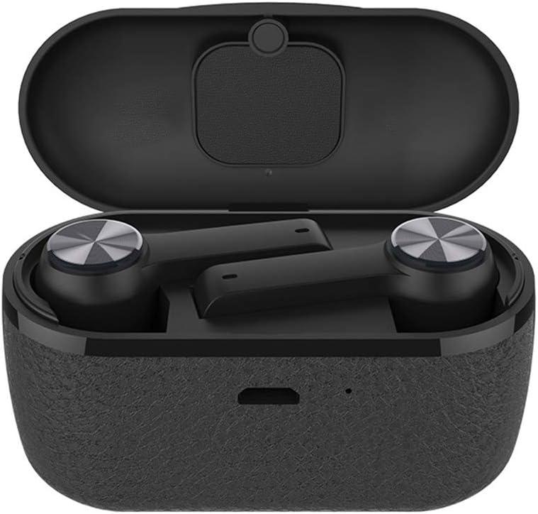 NFGHK Auriculares Bluetooth, Auriculares Wireless Bluetooth 5.0 con 350 mah Estuche de Carga de Cuero 6H Tiempo de Juego con micrófono de cancelación de Ruido CVC/DSP para Smartphones Android