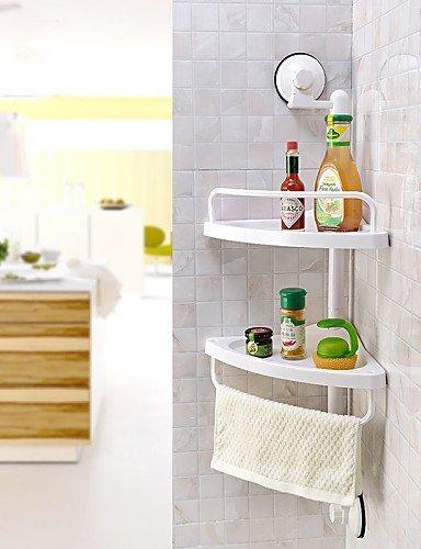 LINA@ Powerful Swift Coner Sucker 2 Tier Storage Shelf With Tower Bar Swift Coner/ Bathroom Sucked Rack Storage Shelf