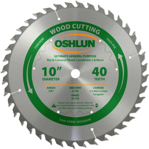 (Oshlun SBW-100040HK 10-Inch 40 Tooth Ultimate General Purpose High ATB Thin Kerf Saw Blade with 5/8-Inch Arbor)