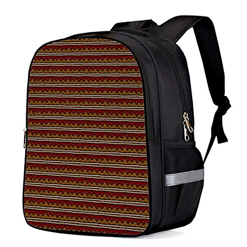(3D Print Childs School Rucksack Laptop Computer Backpacks Retro Stripe Pattern Wallpaper Backpack for Kids Teens 16 Inch)