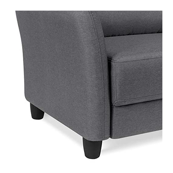 Best Choice Products 76 inch Linen Fabric Upholstered Contemporary Sofa Couch Lounger, Dark Gray - CLASSIC STYLE: This sofa's simple design makes it ideal for any living space, with an adaptable appearance that blends well in a variety of stylish home setups COMFORTABLE DESIGN: Soft cushioned seats and a tufted backrest provide optimal comfort for you and guests as you lounge over drinks and good conversation GREAT FOR COMPACT SPACES: Made to fit seamlessly in your living room, bonus room, dorm, and more, this sofa doesn't carry excess bulk that takes up too much space - sofas-couches, living-room-furniture, living-room - 51fxADaMzHL. SS570  -