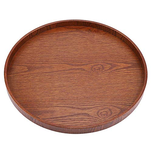 Round Shape Solid Wood Tea Coffee Snack Food Meals Serving Tray Plate Restaurant Tray(Wooden)