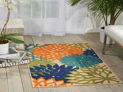Nourison ALH05 Aloha Multicolor Contemporary Tropical Indoor/Outdoor Area Rug 2'8'' x 4' by Nourison