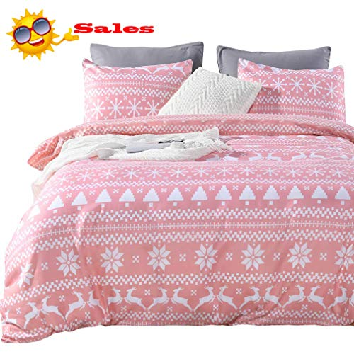 Queen's House Lightweight Microfiber Duvet Cover Set Bedding for Girls Winter Reversible Snowflake Printed Comforter Quilt Duvet Cover Bedding Twin ()