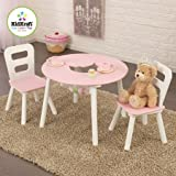 KidKraft Round Storage White/Pink Table and 2 Chairs Set