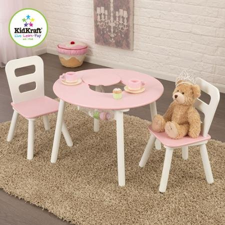 KidKraft Round Storage White/Pink Table and 2 Chairs Set by KidKraft