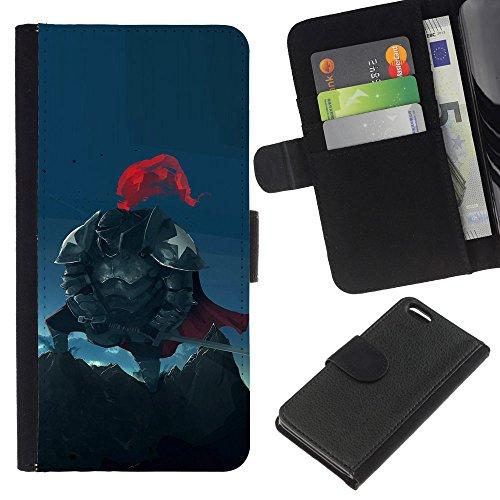 Funny Phone Case // Cuir Portefeuille Housse de protection Étui Leather Wallet Protective Case pour Apple Iphone 5C /Chevalier américaine/