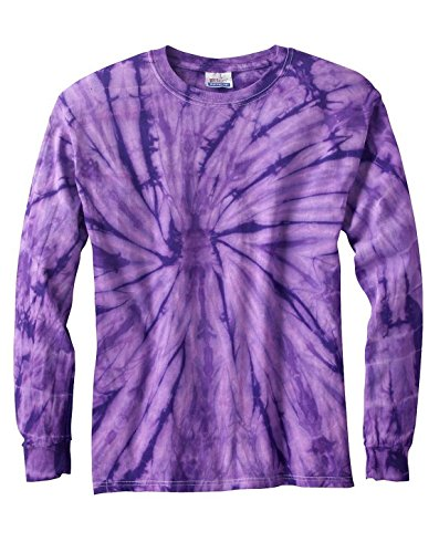 Tie-Dyed Tie-Dye CD2000 100% Cotton L-Sleeve T-Shirt Spider Purple Small