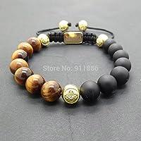 Rainy Jewel :10mm Black Matte Onyx & Yellow Tiger Eye Beads Braid Shamballa Bracelet with Gold Crystal Beads Hollywood Men Bracelet