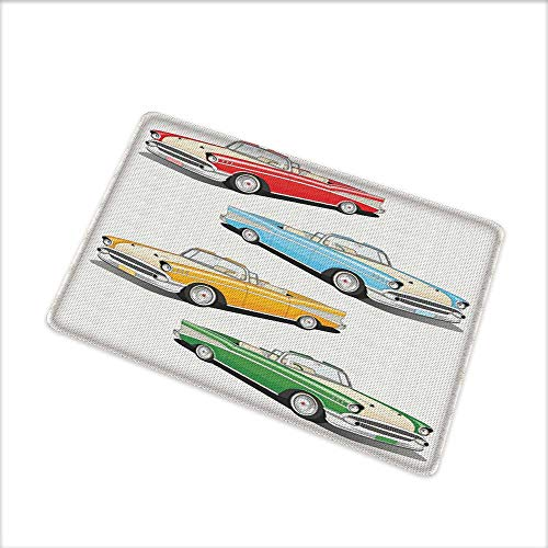 Entrance Door Mat Large, Arrangement of Four Classic Car Roadsters Old Fashioned Transportation Illustration, Dress Up Your Doorway with Durable Mildew Resistant, W31.5 x H19.5 INCH, ()