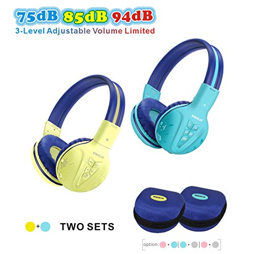 2 Pack of SIMOLIO Wireless Kids Headphone with Hard Case, Bluetooth Kids Friendly Headphone Volume Limited, Wireless Headphones for Girls,Boys,Over-Ear Kids Headphones for School,Travel(Mint,Yellow) (Kid Travel Headphones)