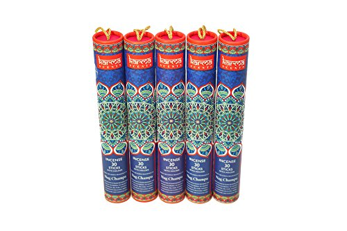 Premium Nag Champa Incense Sticks 5 Set Gift Pack with a Holder In Each Box, 150 Sticks and Five Incense Burners