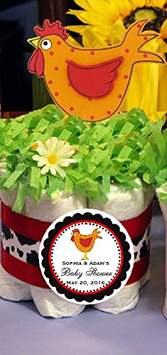 ROOSTER Funny Farm Barnyard Animals Mini Diaper Cakes Centerpieces