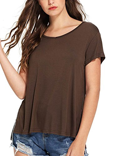 SheIn Women's Summer V Neck Short Sleeve High Low Loose T-Shirt with Side Split Coffee XX-Large (T-shirt Womens 07)