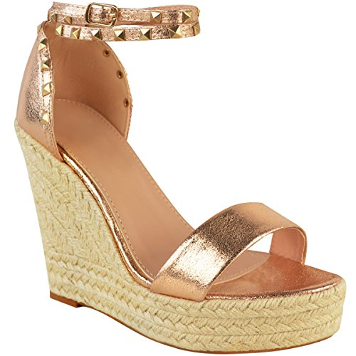 Wedges Heel High Crinkle Metallic Platforms Rose Sandals Studded Thirsty Fashion Gold Ladies Womens Summer Size Esapdrille wT0qX