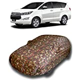VIRMANG Hard Triple Stitched|Fully Elastic|Ultra Surface Body Protection with Water Resistant Car Cover for Toyota Innova Crysta (Multicolor with Mirror Pockets)