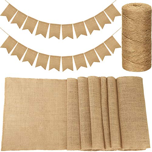 (Burlap Party Decorations Set Includes 20 Pieces DIY Burlap Banners, 12 by 108 Inch Burlap Table Runner and 328 Feet Twine for Wedding Easter Birthday)