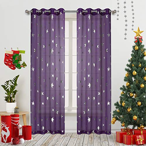 Gold Dandelion Star Curtains Foil Print Silver Stars Grommet Twinkle Star Kids Bedroom Drapes for Nursery Room Cosmic Theme for Living Room and Space-Loving Grown-ups(2 Panels W52 X L63 Inch Purple (And Gold Silver Curtains)