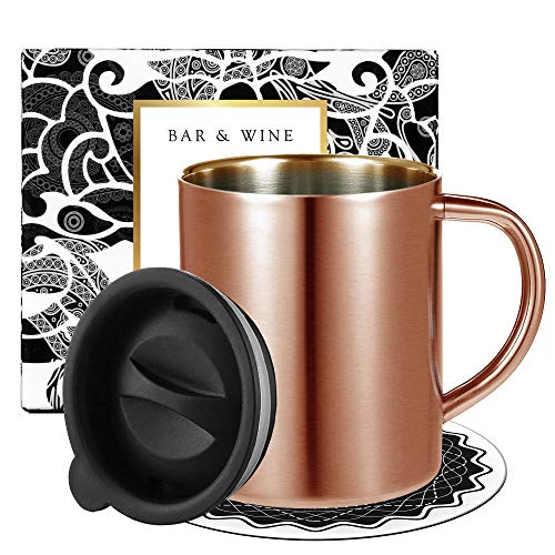 Copper Coffee Mug with Lid Stainless Steel Coffee Travel Mug Insulated by Homestia 14oz