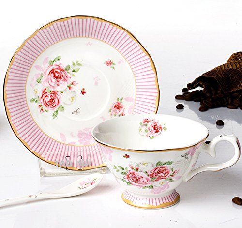 ufengke®European Fashion Roses Stripes Bone China Coffee Cup and Saucer 204ml, Pink