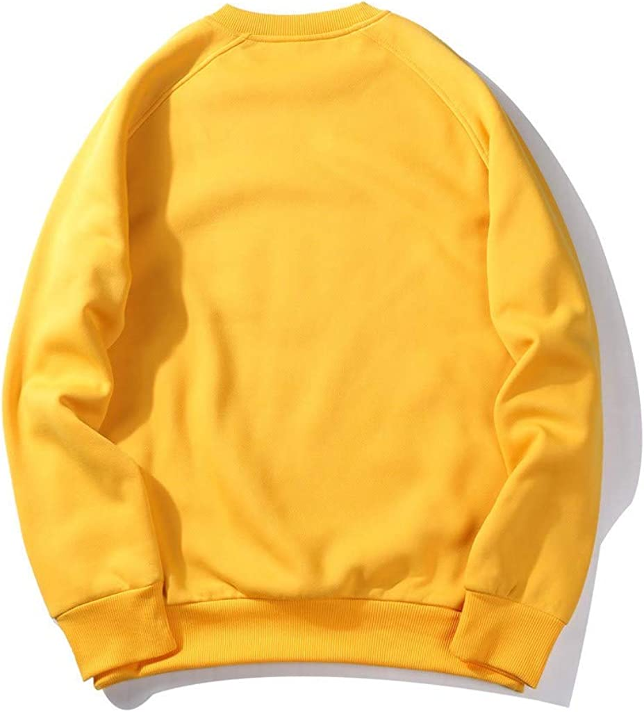LauVery Mens Crewneck Sweatshirt Couple Sweater Tops Long-Sleeve T-Shirt Fashion Pullover Sweatshirts
