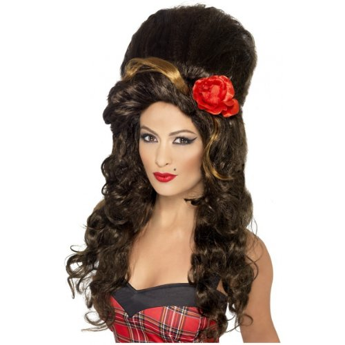 Smiffy's Women's Large Brown Beehive Wig with Large Red Flower, One Size, Rehab Wig, (Rehab Wig Adult)