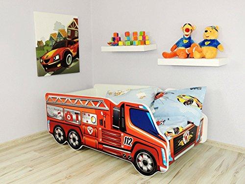 Autobett Kinderbett Juniorbett 140x70 Cm Feuerwehr Rot Inkl. Matratze