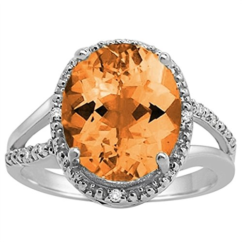 Oval Ring Shaped Citrine (Oval Shaped Citrine and Diamond Ring in 10K White Gold)