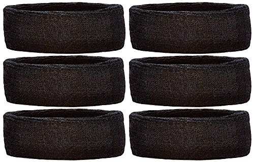 Unique Sports Headbands Team Pack of 6 (Black)
